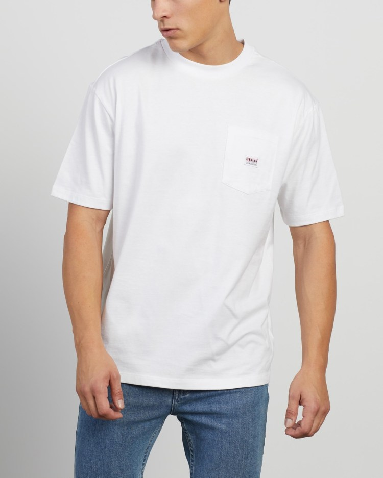 Guess Originals Pocket Label SS Tee T-Shirts & Singlets Pure White