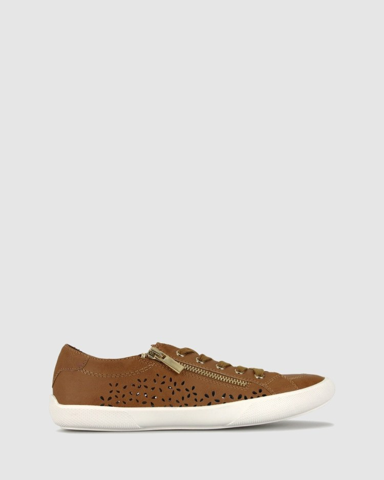 Betts Emerson Laser Cut Sneakers Casual Shoes Tan