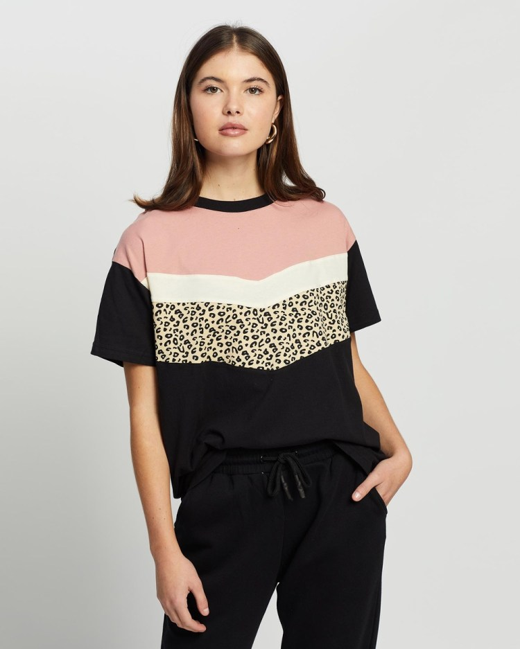 All About Eve Distinct Panel Tee Short Sleeve T-Shirts MULTICOLOURED