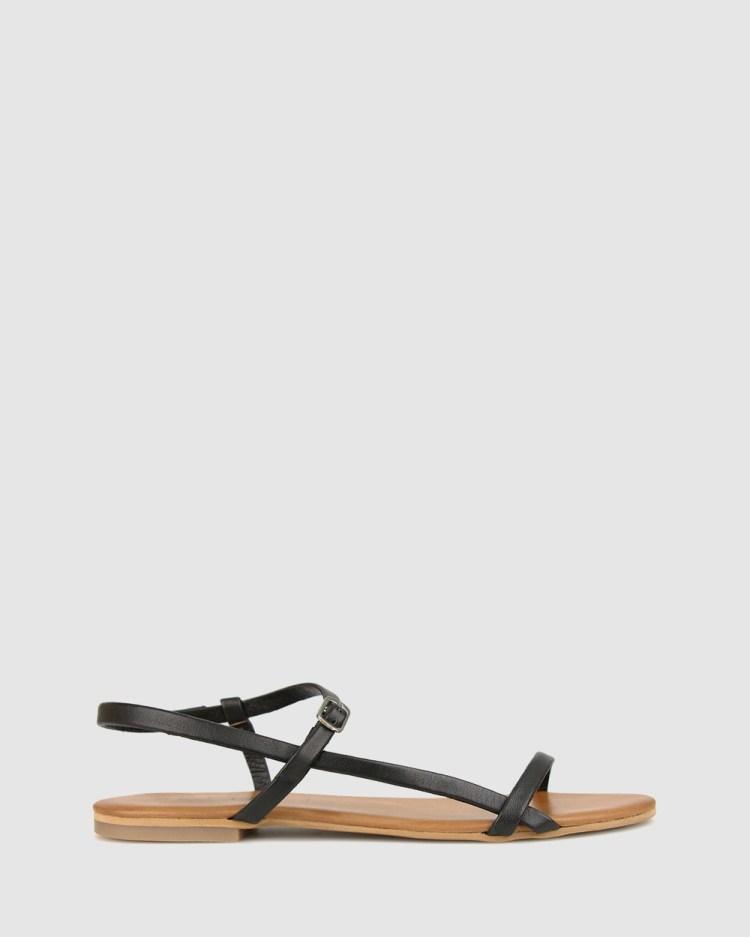Betts Kora Leather Flats Casual Shoes Black