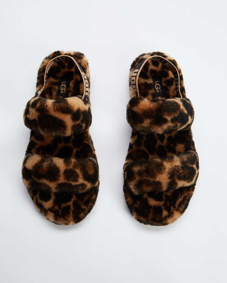 UGG Oh Yeah Panter Print Slippers Womens & Accessories Butterscotch