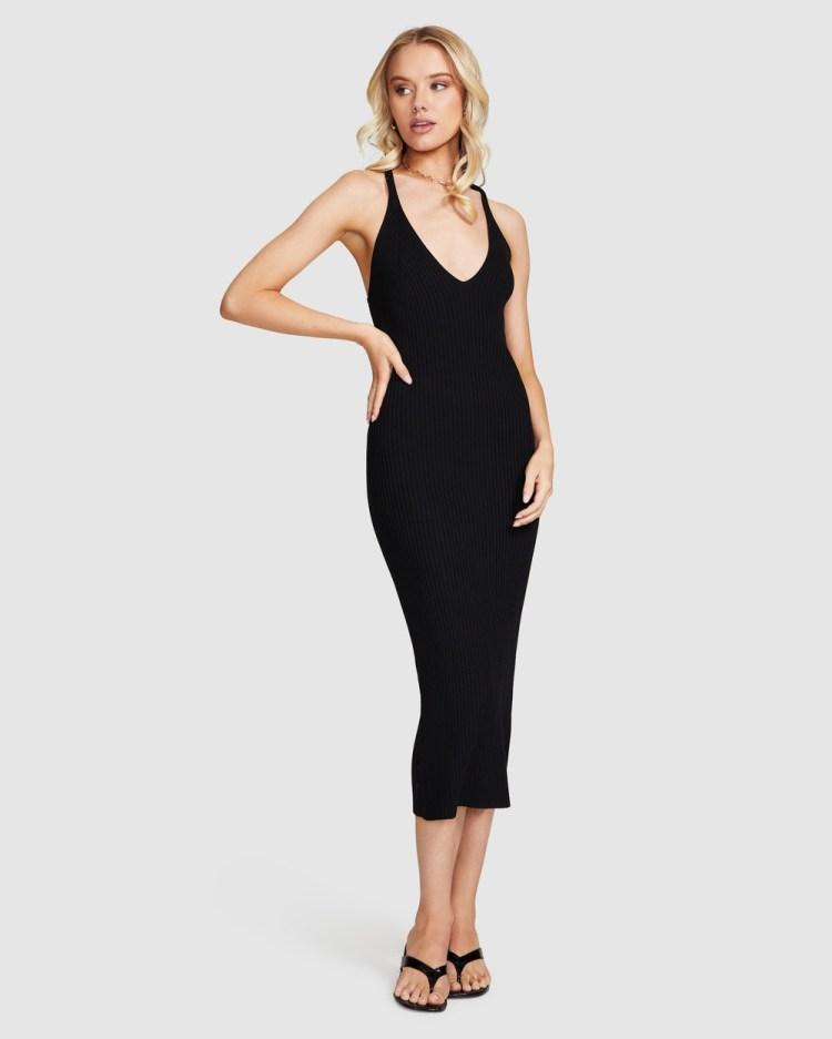 Alice In The Eve Mahalia Cross Strap Knit Dress Dresses BLACK