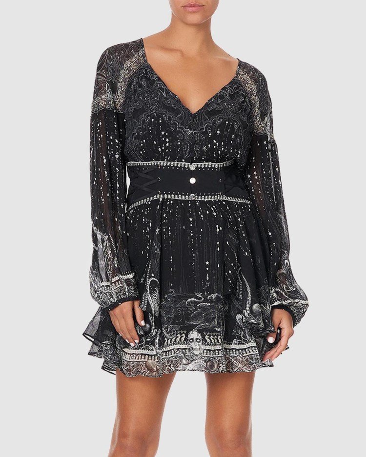 Camilla Button Through Dress with Waistband Dresses Midnight Pearl