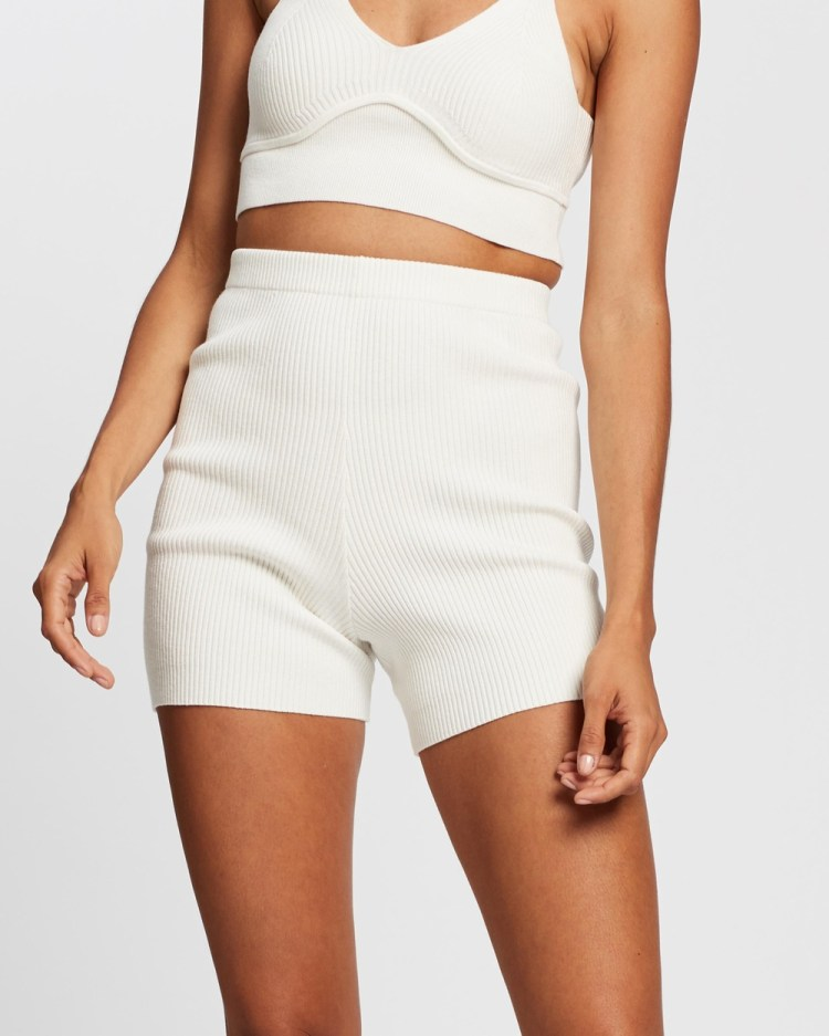 AERE Ribbed Knit Shorts High-Waisted Unbleached