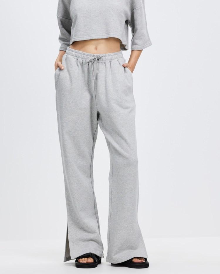 AERE Organic Cotton Split Leg Track Pants Sweatpants Grey Marle