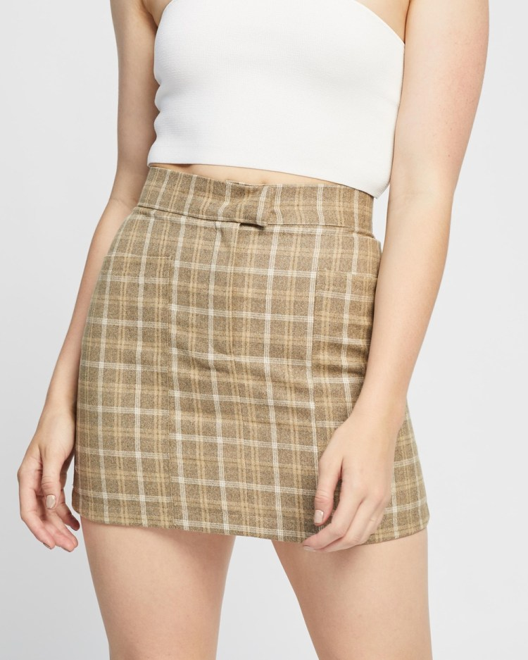 4th & Reckless Chance Skirt Skirts Beige Check