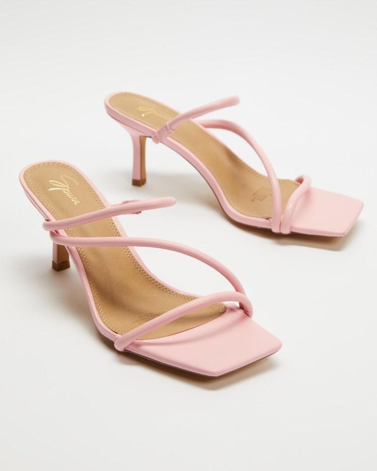 SPURR Tara Heels Sandals Pink Smooth