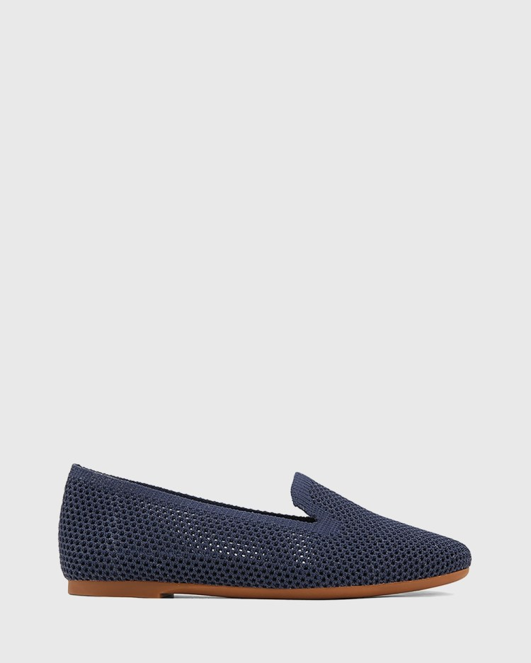 Wittner Ambition Recycled Flyknit Loafers Flats Navy