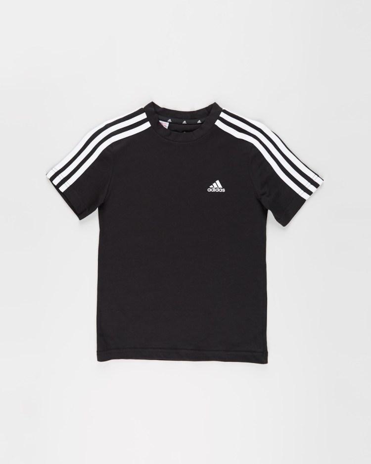 adidas Performance Essentials 3 Stripes Tee Kids Teens T-Shirts & Singlets Black White 3-Stripes Kids-Teens