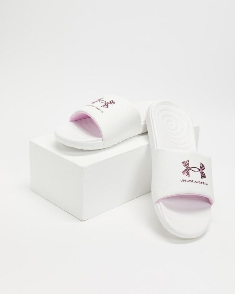 Under Armour Graphic Logo Slides Women's White