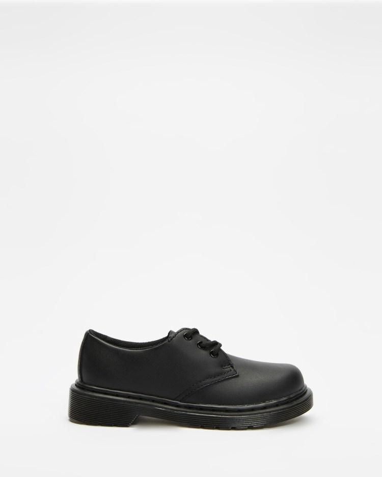 Dr Martens Junior 1461 Mono Kids Teens Casual Shoes Black Softy T Kids-Teens