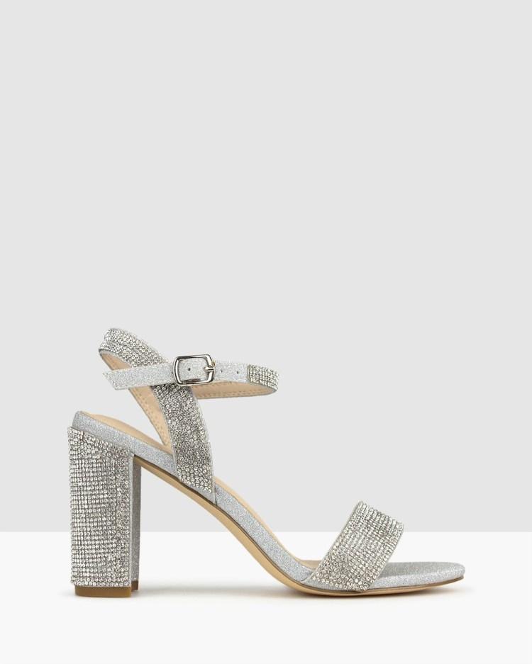 Betts Sherbet Diamante Block Heel Sandals Heels Silver