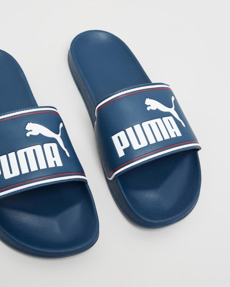 Puma Leadcat FTR Sandals Mens Slides Dark Denim, White & High Risk Red