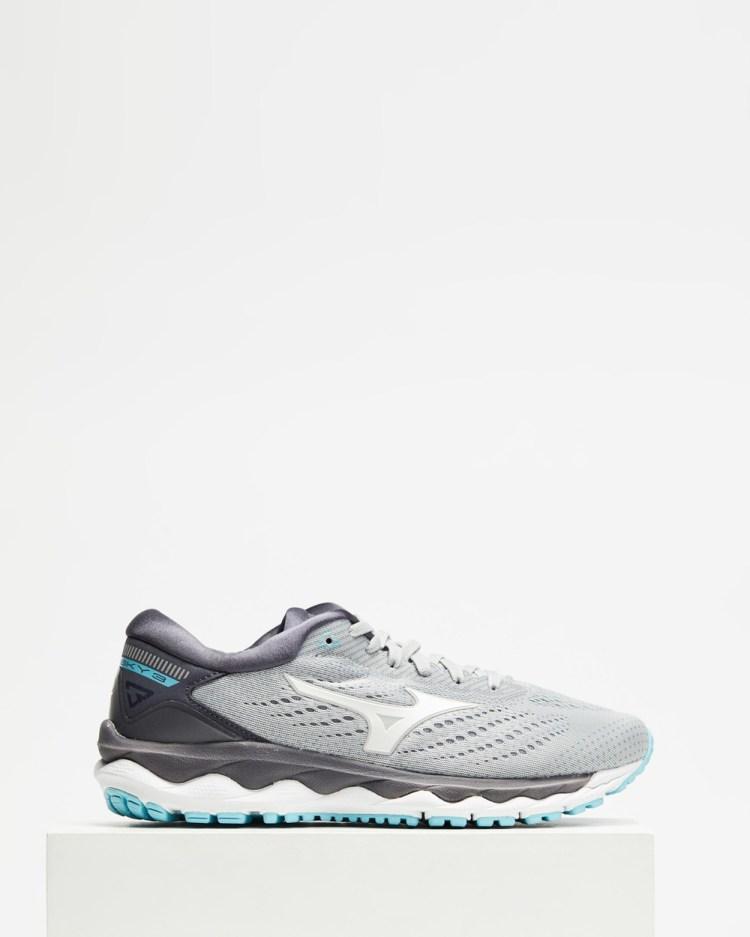 Mizuno Wave Sky 3 Women's Outdoor Shoes Vapor Blue, White & Gulf Stream
