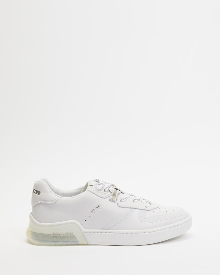 Coach City Sole Leather Court Sneakers Womens Optic White