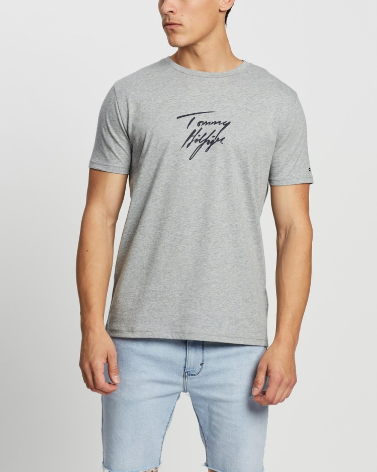 Tommy Hilfiger Short Sleeve Logo Tee T-Shirts & Singlets Grey Heather