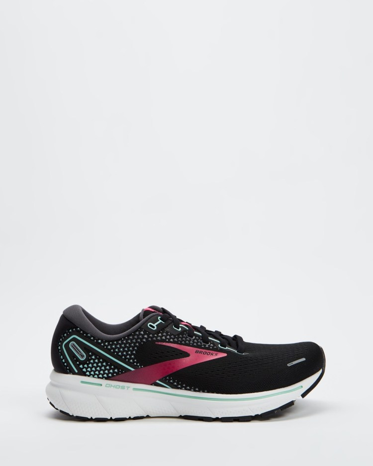 Brooks Ghost 14 Womens Performance Shoes Black, Pink & Yucca