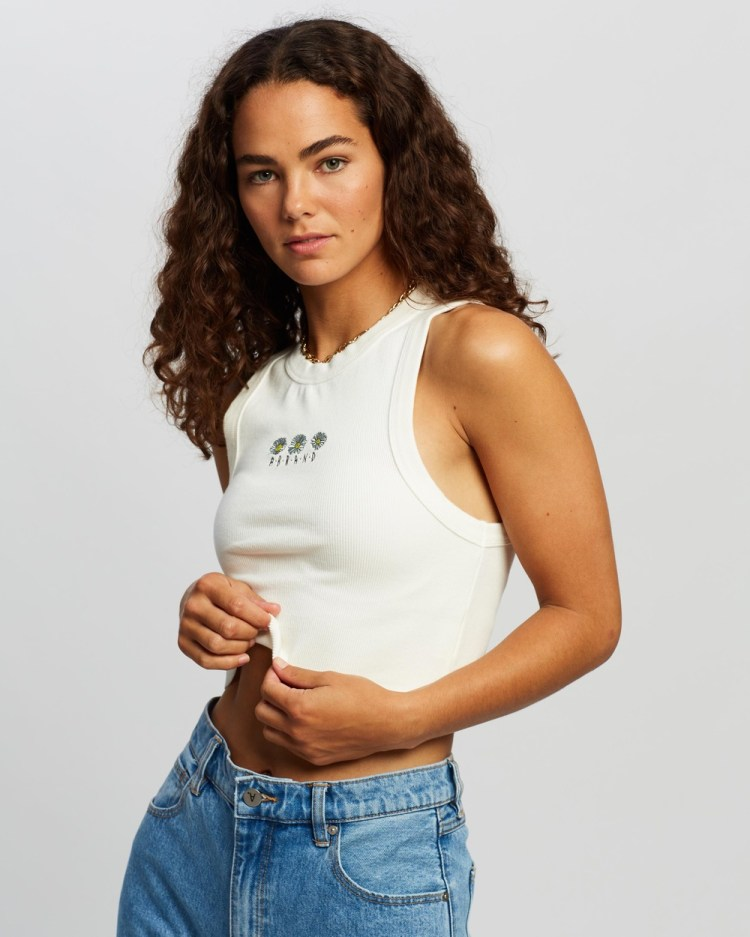 Abrand A Heather Singlet T-Shirts & Singlets White