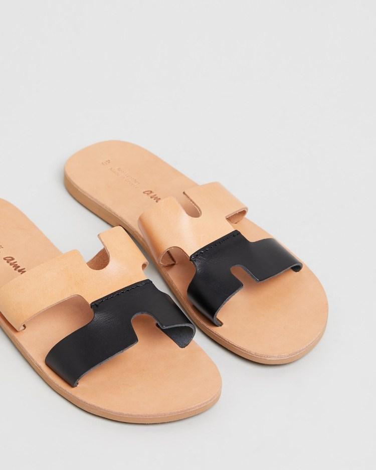 Ammos Maia Sandals Tan & Black