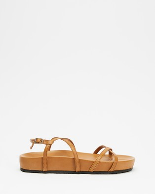 AERE - Strappy Leather Footbed Sandals - Shoes (Tan Leather) Strappy Leather Footbed Sandals