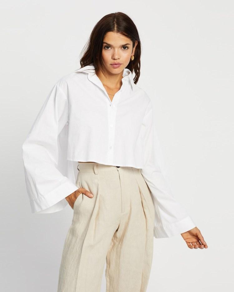 AERE Organic Cotton Cropped Shirt tops White
