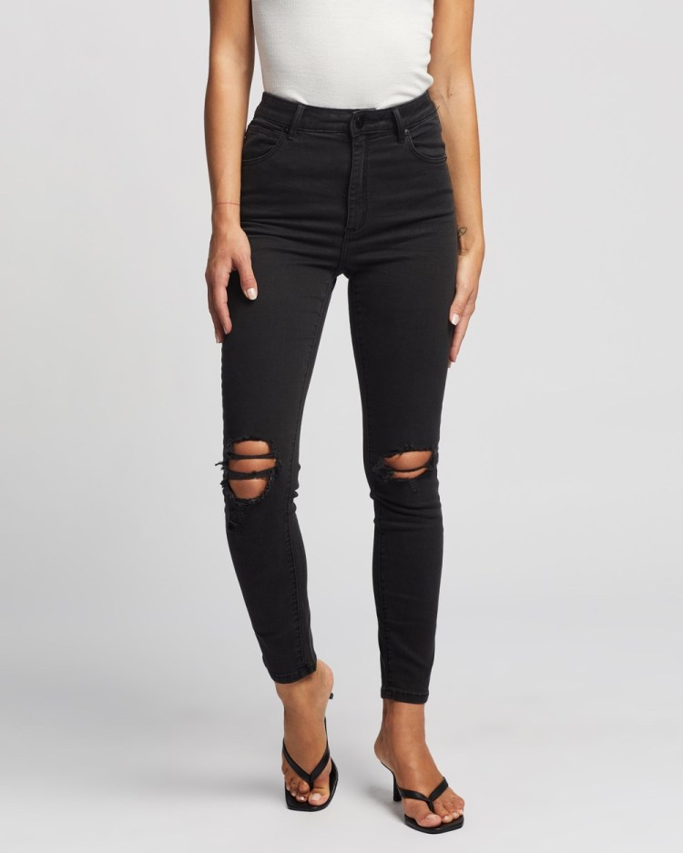 Abrand A High Skinny Ankle Basher Jeans Buster Black