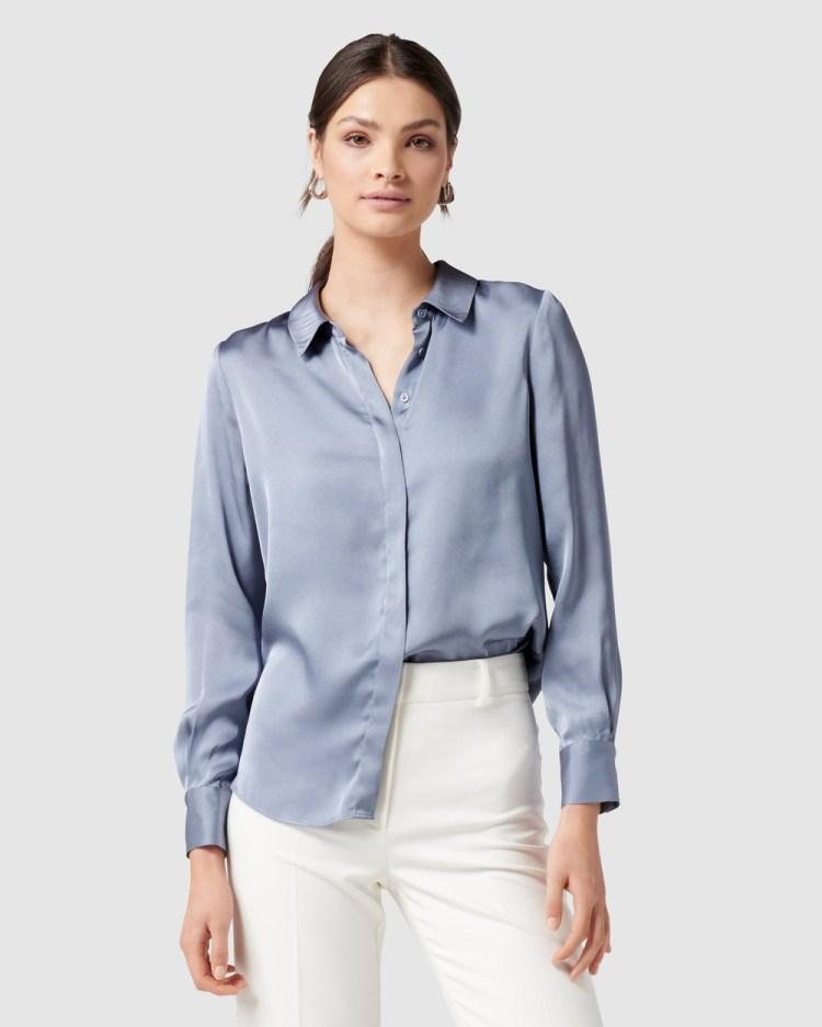 Forever New Clara Satin Shirt Tops Blue
