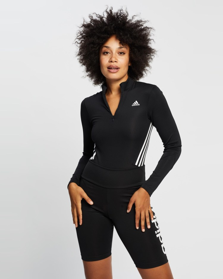 adidas Performance Mesh Leotard Dresses Black & White