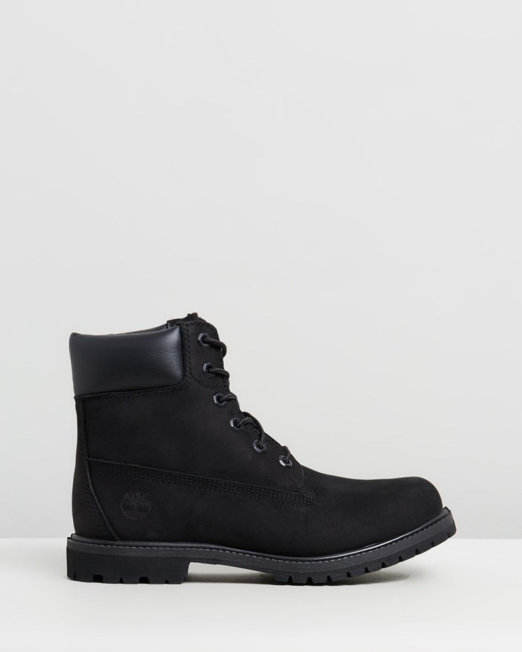 Timberland Womens 6 Inch Premium Lace Up Boots Black Nubuck 6-Inch