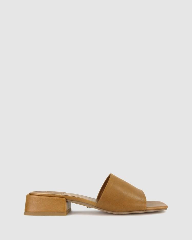 ZU Spencer Leather Mules Sandals Tan