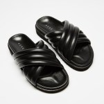 AERE Crossover Leather Footbed Slides Shoes Black Leather Australia
