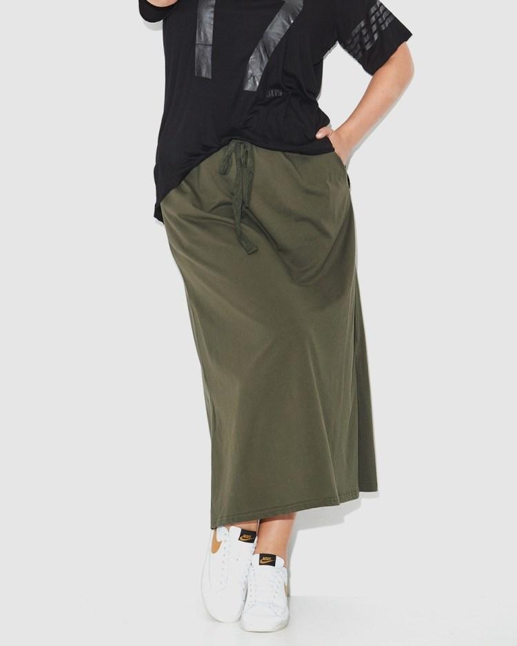17 Sundays Jersey Maxi Skirt Skirts Olive