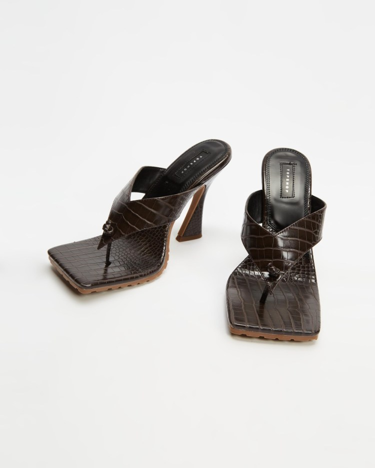 TOPSHOP Nala Toe Post Heels Sandals Dark Brown
