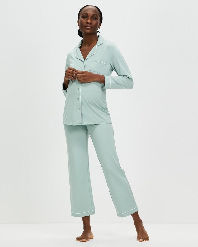 Angel Maternity and Nursing Long Sleeve Pyjama Set Two-piece sets Sage Green
