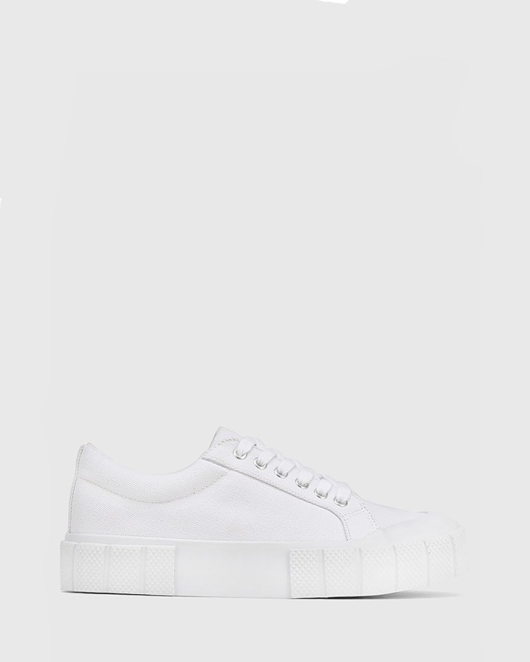 Wittner Xylon Canvas Lace Up Sneakers Lifestyle White