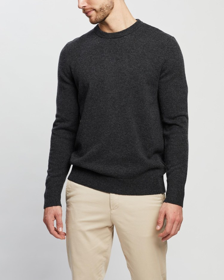 3 Wise Men The Walter Lambswool Knit Jumpers & Cardigans Charcoal