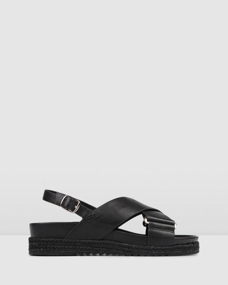 Jo Mercer Miles Flat Espadrille Sandals BLACK LEATHER
