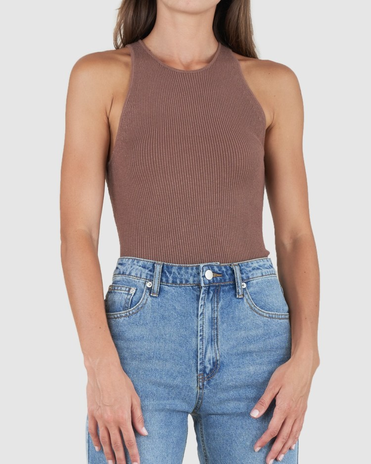 Amelius Afina Knit Tank Top Tops Brown