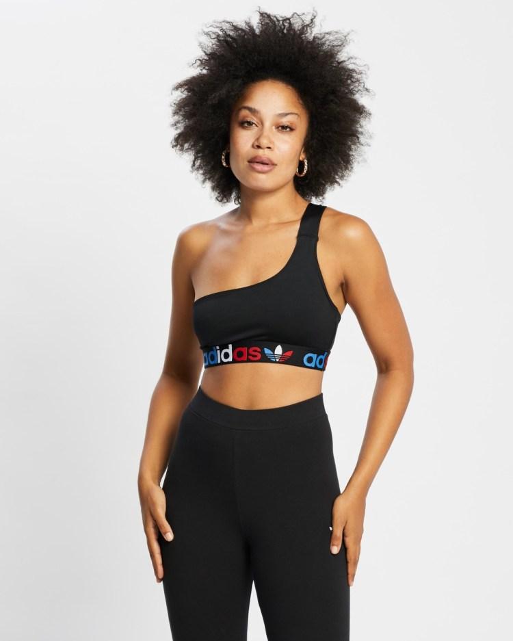 adidas Originals Adicolor Tricolor Primeblue Asymmetric One Shoulder Top Cropped tops Black One-Shoulder