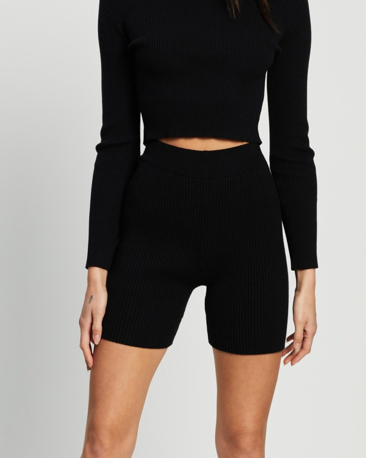 4th & Reckless Harper Knit Shorts High-Waisted Black