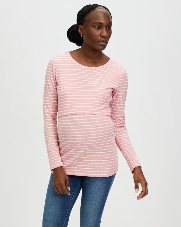 Angel Maternity & Nursing Long Sleeve Cotton Top Tops Pink Stripes