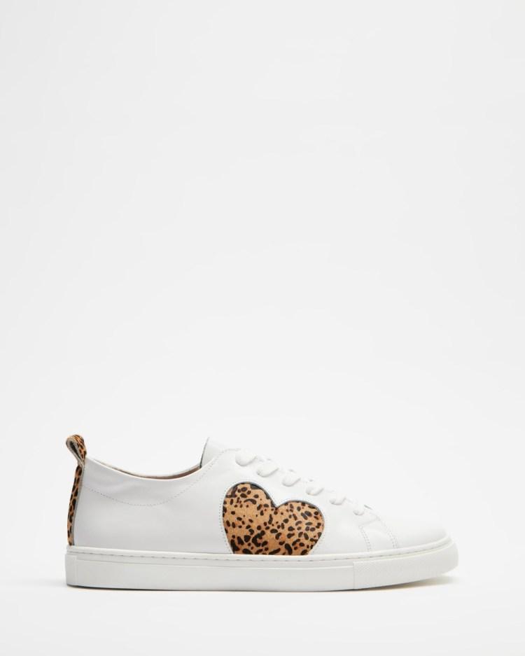 Walnut Melbourne Heart Leather Sneakers Leopard Pony