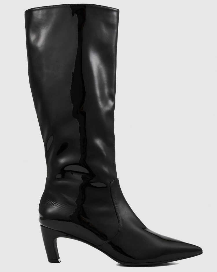 Nakedvice The Willow Patent Boot Knee-High Boots Black Patent