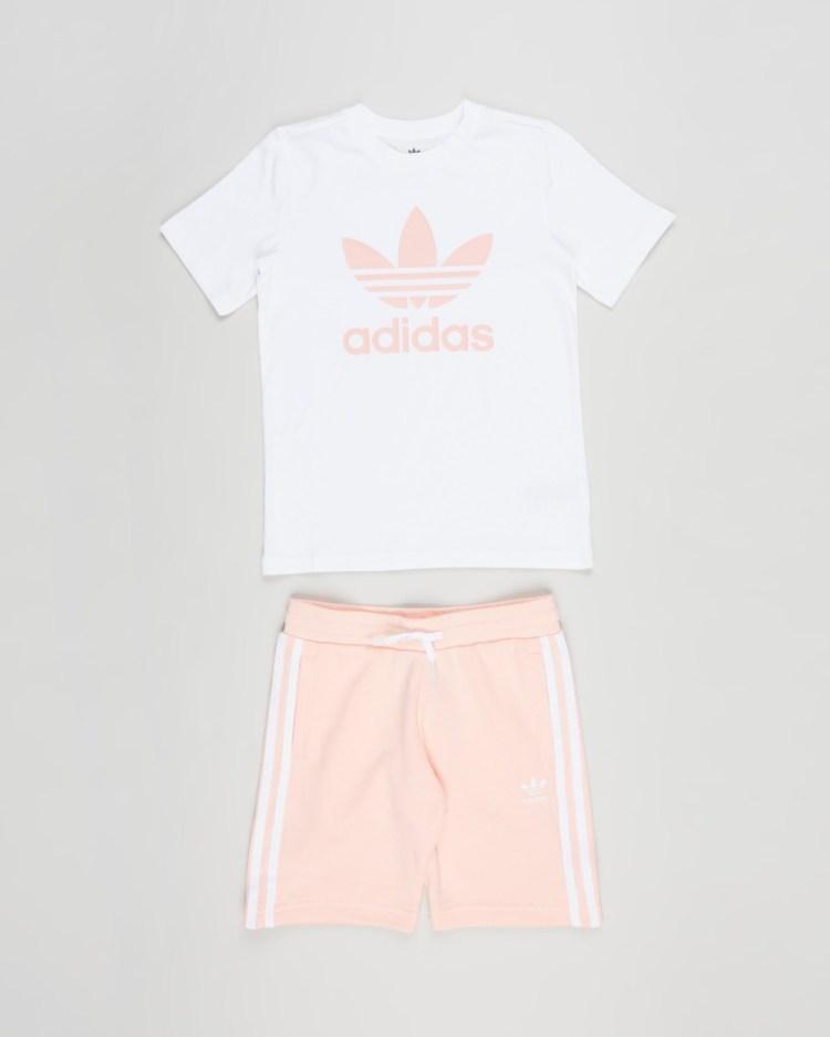 adidas Originals Adicolor Shorts and Tee Set Kids White & Hazy Coral