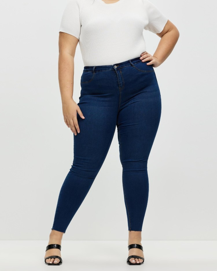 Missguided Curve Lawless High Waisted Super Soft Jeans High-Waisted Deep Blue