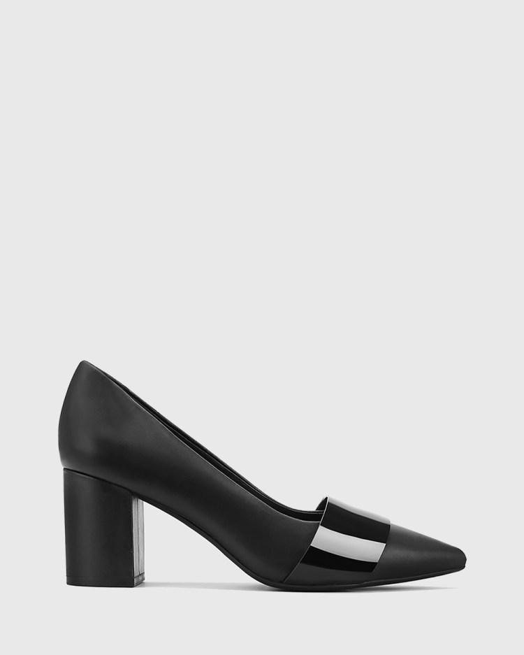Wittner Danko Leather Pointed Toe Block Heels All Pumps Black