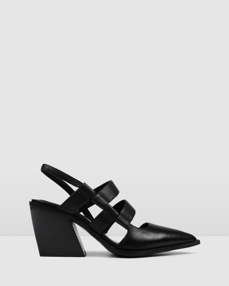 Jo Mercer Flame Mid Heels Mid-low heels BLACK LEATHER