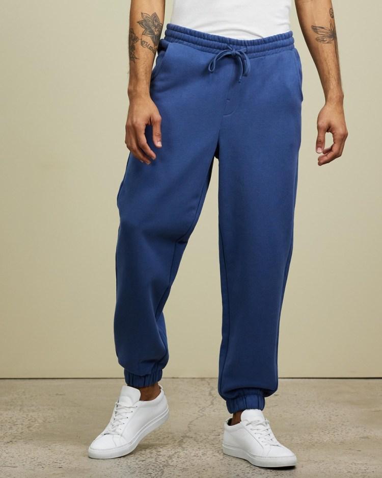 AERE Organic Cotton Track Pants Sweatpants Navy