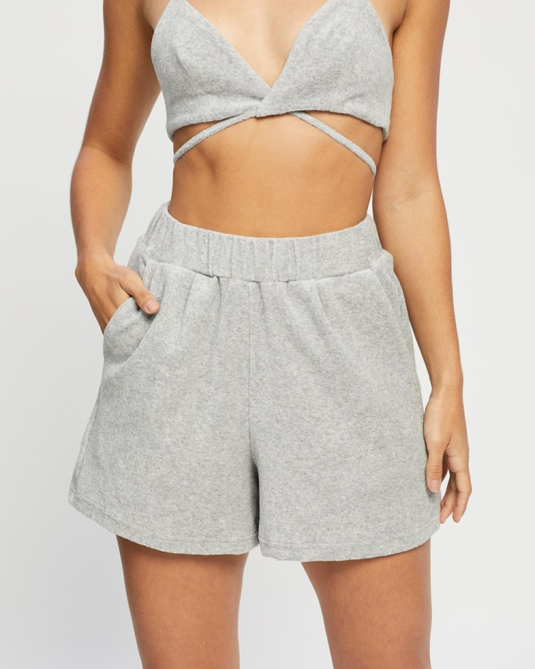 4th & Reckless Henna Shorts High-Waisted Grey Towelling
