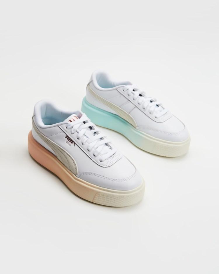 Puma Oslo Maja Gloaming Womens Lifestyle Sneakers Puma White, Ivory Glow, Eggshell Blue & Peach Parfait